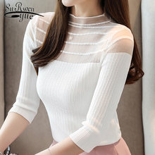 womens clothing camisas mujer women blouses 2019 white blouse ladies tops women knitted blouse womens tops and blouses 4437 50(China)