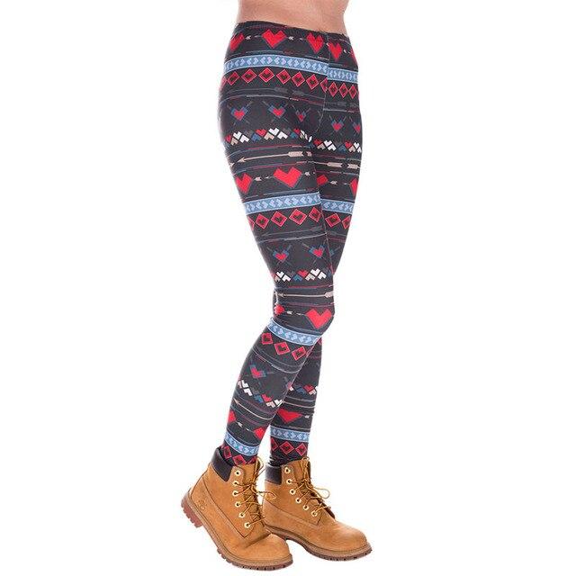 Fashion Leggings Women/Girl/Female Hearts Printed Mid waist Long Leggings Black red Workout Pants