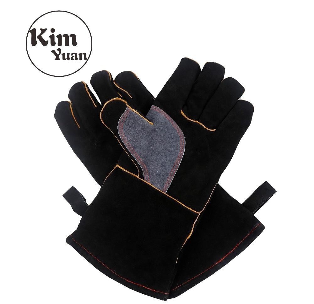 KIM YUAN 017L Welding Gloves Heat Resistant Perfect for Welder/Cooking/Baking/Fireplace/Animal Handling/BBQ -Black-Gray 14inches welder machine plasma cutter welder mask for welder machine
