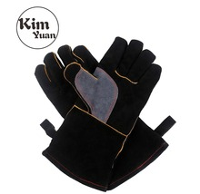 KIM YUAN 017L Welding Gloves Heat Resistant Perfect for Welder/Cooking/Baking/Fireplace/Animal Handling/BBQ -Black-Gray 14inches kim yuan 025l cowhide welding gloves heat resistant t for welder cooking baking fireplace animal handling bbq black red 14inches