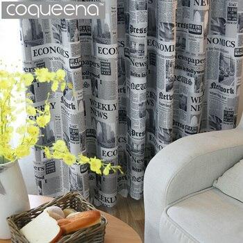 vintage stijl krant print verduisterende gordijnen woonkamer slaapkamer keuken deur decoratieve gordijn gordijnen venster behandelingen