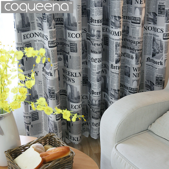 Vintage Style Newspaper Print Blackout Curtains for Living