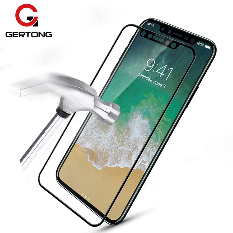 GerTong Full Cover Tempered Glass For iPhone 6 6S 7 8 Plus 5 5S SE Colour Toughened Glass Screen Protector for iPhone X Edition image