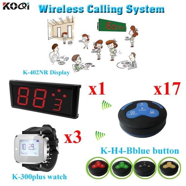 Système de service de montre sans fil de restaurant du bon fournisseur de la chine et CE passé (1 affichage + 3 montre + 17 bouton)