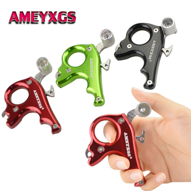 Archery Compound Bow Release Aids Thumb Trigger 3 Finger Metal Caliper Grip