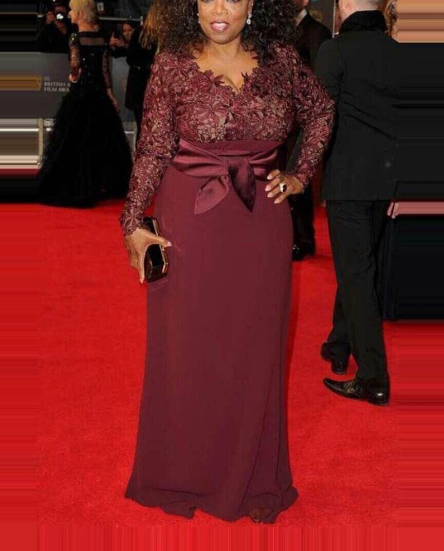 vestido de noiva Arabian Design Burgandy V Neck Appliqued Lace Long Sleeve Maxi Mother of the bride Dresses