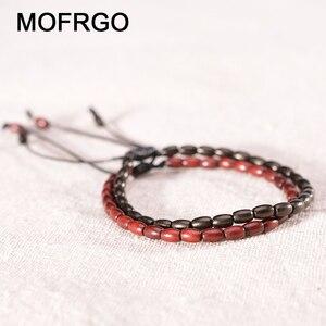 Image 1 - MOFRGO Glück Holz Tibetischen Buddha Perlen Armband Einfache Gebet Yoga Armband Amulett Meditation Armbänder Für Männer Frauen Einstellbare