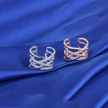 2019 Opening Ring CZ Stone Fashion Jewelry Women Double Line Intersecting Rings Pave Setting Crystal Trendy