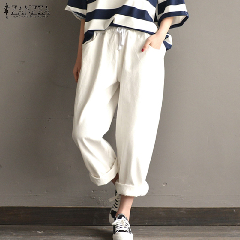 2018 Summer ZANZEA Women Casual High Elastic Waist Pockets Loose   Wide     Leg     Pants   Vintage Solid Cotton Linen Harem   Pants   Pantalon