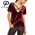 CP 2017 Women Fashion Crushed Velvet Crisscross V-Neck Tops Shirts New Summer Casual Short Sleeve Loose Shirts Solid Sexy Blouse
