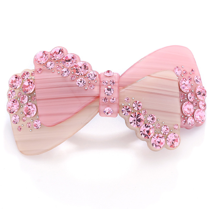 New Fashion Pink Acrylic Rhinestone 90s Hair Accessories Jewelry Ornament Barrette Tiara Pin Clip for Women Wedding Party Braids