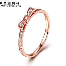DOUBLE-RING 18K Gold Rings Diamond Wedding Natural 18K Solid Rose Gold Ring Romantic Jewelry Ring for Women CAR06959KA-3