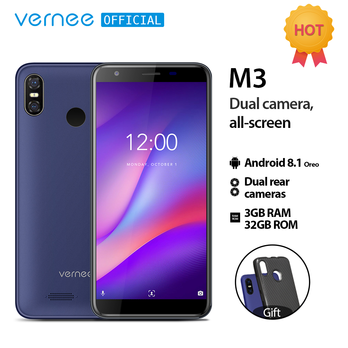 Vernee M3 5 5 Full Screen Smartphone 3GB 32GB Quad core Cellphone Android 8 1 3300mAh