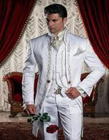 卸売カスタムメイドホワイト刺繍新郎タキシード花婿の付添人ベストマンウェディングスーツjacketpantventtiehandkerchief