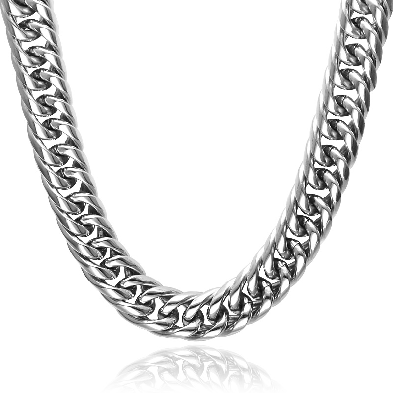 HIP Silver Color Double Curb Cuban Link Chain Necklaces 60CM Long Stainless Steel Miami Chain Necklace for Men Jewelry