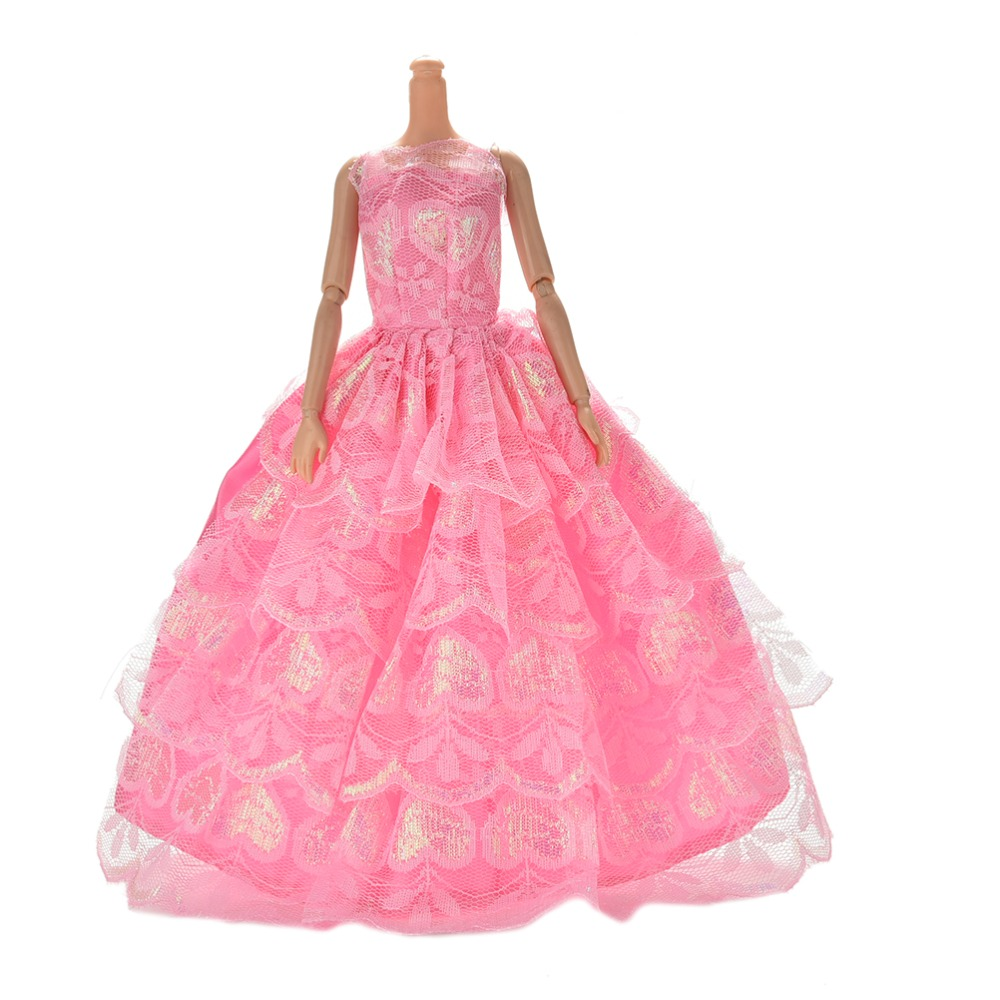Random Color 1 Pc Wedding Clothes Dress for Barbie Doll Gift Baby Toys Delicate Party Doll's Dresses Clothes Gown Princess leadingstar 2017 new wedding bridal dress princess gown evening party dress doll clothes fit for barbie doll for kids gift zk30