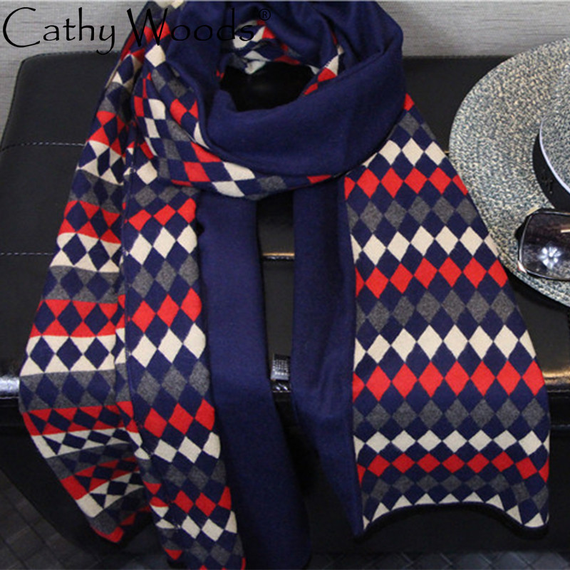 CW cashmere lattice stripes stitching scarf scarf for women men winter warm 190 * 65CM ...