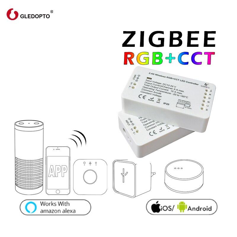 GLEDOPTO ZIGBEE regolatore zll di collegamento luce di RGB + CCT led dc12-24v intelligente app di lavoro di controllo con Amazon Echo e molti gateway