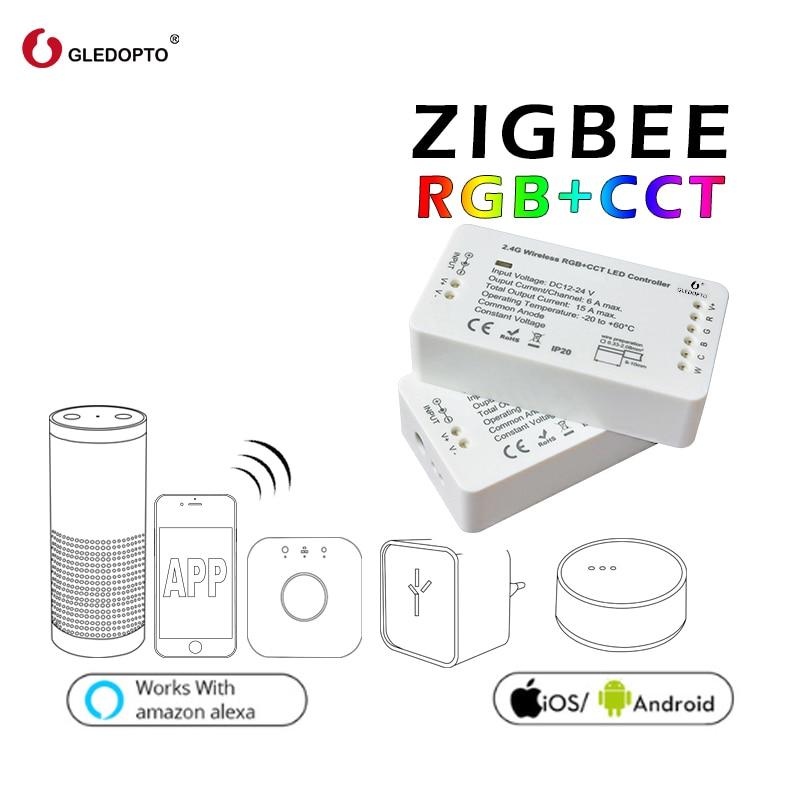 GLEDOPTO ZIGBEE contrôleur zll lien lumière RGB + CCT led dc12-24v smart app contrôle travail avec Amazon Echo et de nombreux passerelles