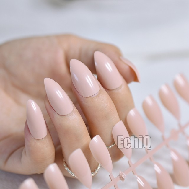 Online Shop 24pcs Almond Design Nail Tips Kit Light Pink Candy