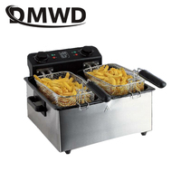 DMWD коммерческих 6L двухцилиндровый постоянной Температура электрическая фритюрница нержавеющая сталь мини бездымного картофель фри сково