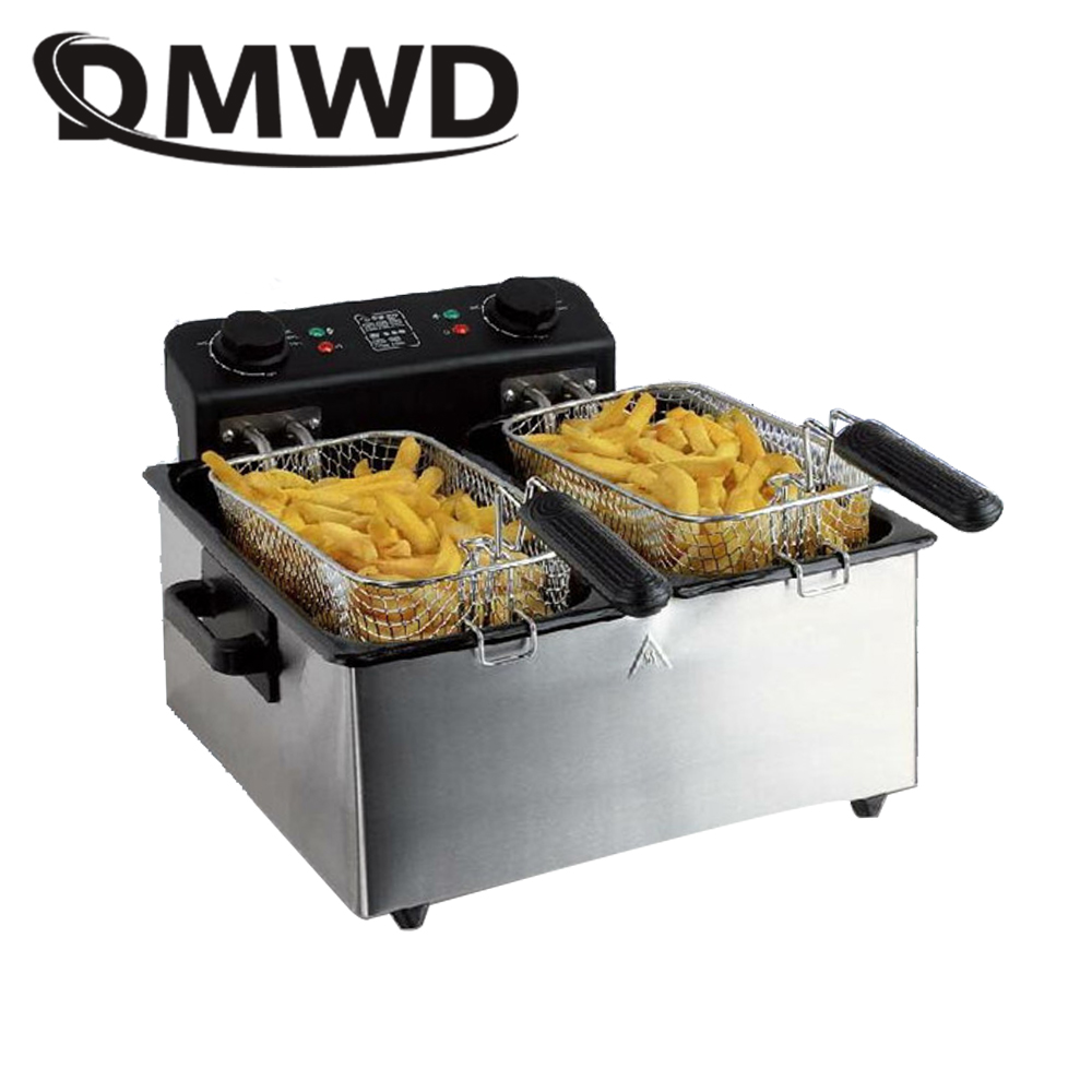 DMWD Commercial 6L twin-cylinder Constant Temperature Electric Deep Fryer stainless stee ...