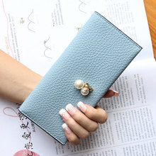 2017 spring and summer new Slim Wallet Purse Wallet long female Korean version of the simple and simple Student Wallet