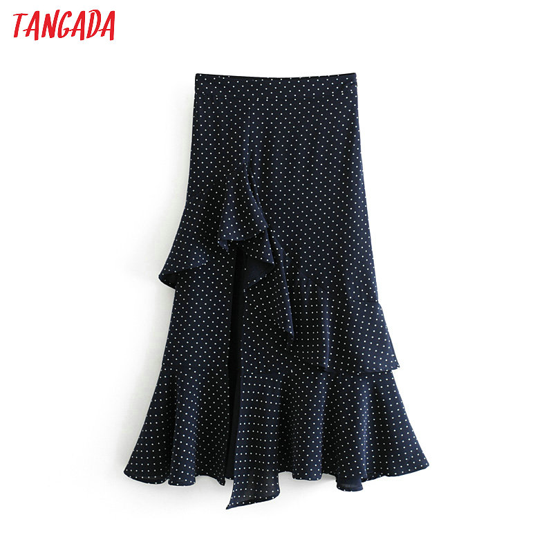 Tangada women ruffles skirt polka dot side zipper high waist ladies fashion elegant pleated skirts faldas mujer 6A244(China)