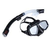 Yüzme Dalış Koruyucu Gözlüğü Solunum Tüpü Şnorkel Maske Set Anti-sis Gözlük Koruyucu Maske Gözlük Siyah
