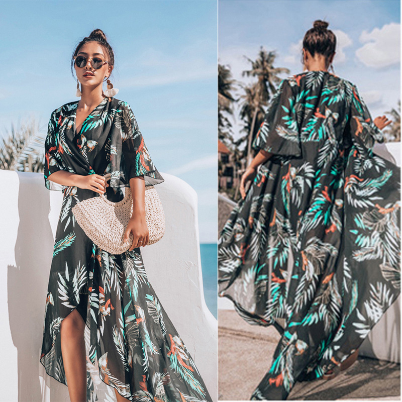 Cover Up Beach Wear Bikini 2019 Dresses For Women Pareo Tunics Summer 2019 Chiffon Lengthened Coastal Skirt Print Acetate Sierra