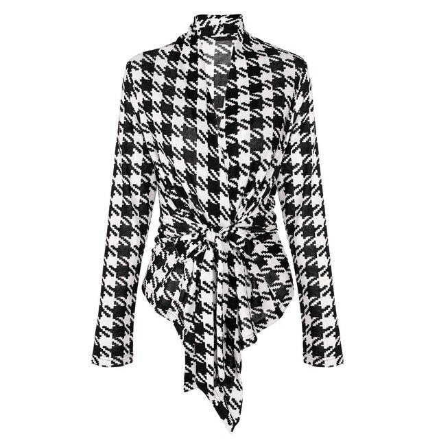 2017 Стильные Дамы Женщины Куртка Повседневная Плед С Длинным Рукавом Пальто Открытым Стежка Верхняя Одежда