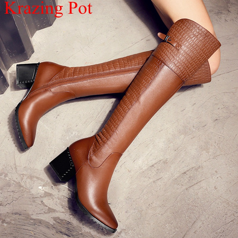 2018 superstar cow leather big size high heels over the knee boots zipper keep warm concise motorcycle shoe thigh high boots L302018 superstar cow leather big size high heels over the knee boots zipper keep warm concise motorcycle shoe thigh high boots L30