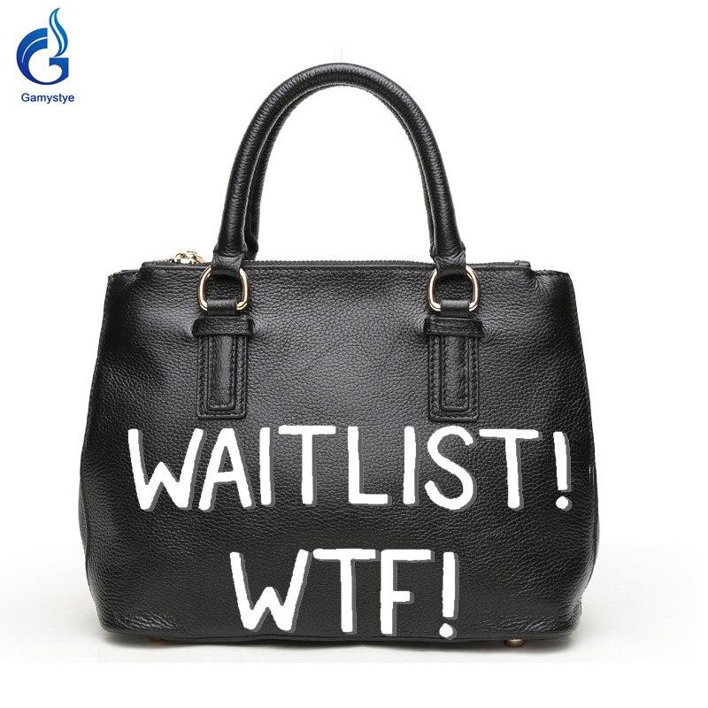 Gamystye New Genuine leather Handbags Design Word WAITLISH WTF Graffiti hand Paint Letters On Women Bags Women handbag customize letters on familiar matters vol ix–xvi
