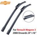 Qeepei lâmina de limpador para renault megane 3 24 ''+ 16'' 2 peças brisas 2008-presente natural de borracha acessórios do carro cpd103-4