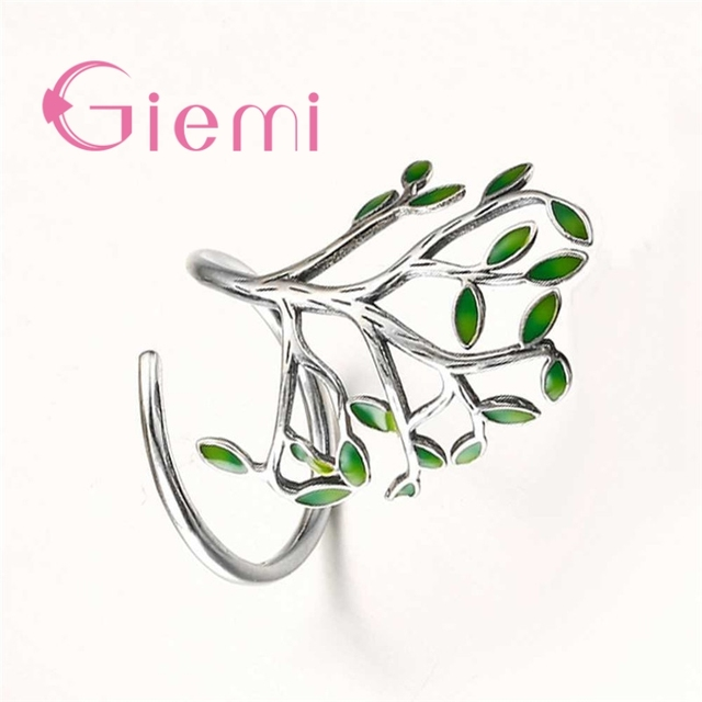 Top Quality Vintage 925 Sterling Silver Ring Women Men Enameled Green Leaves Tree of Life Trendy Party Wedding Jewelry 1