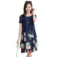 Summer Fashion O neck Elegant Women Chiffon Dress Plus Size 5XL Clothing Casual Print Short Sleeve Midi Dress 2019 New NW1702