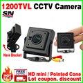 3.7mm Cone HD 1/4 CMOS 1200TVL real Pequeno Cor CCTV Mini Câmera de Segurança de Vigilância de Vídeo Analógico 3.7 MM Lente Smal Suporte De Metal