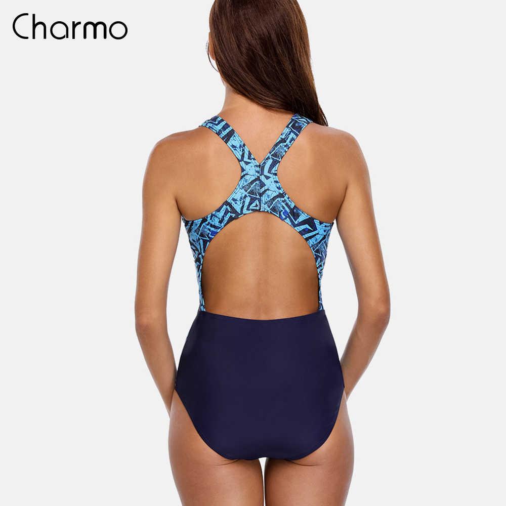 Charmo ワンピースの女性スポーツ水着スポーツ水着パッド入りビキニ背中着用水着モノキニ無地スーツ