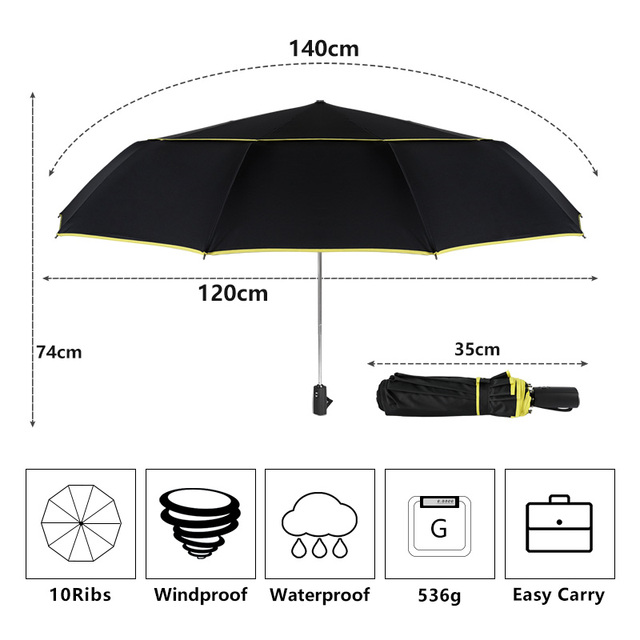 High Quality 120cm Fully-automatic Umbrella Men Rain Woman Double Layer 3 Folding Business Gift Umbrella Windproof Sun Umbrellas 1