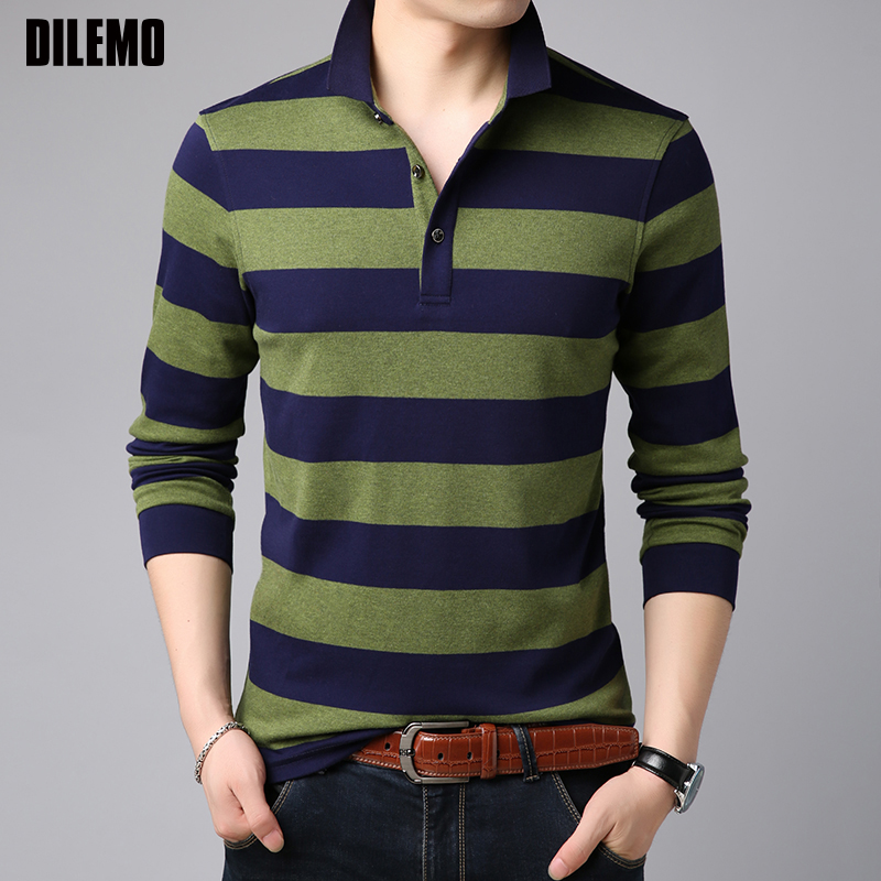2018 New Fashions Brand   Polo   Shirt Mens Korean Striped Long Sleeve Slim Fit Boys Collar Senior Poloshirt Casual Mens Clothing