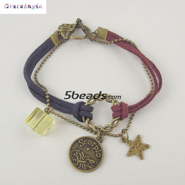 AM0340 Leather Alloy Crystal Bracelet Zodiac Astrological Sign Horoscope Aquarius Gift for Women Girl 16cm 1PC