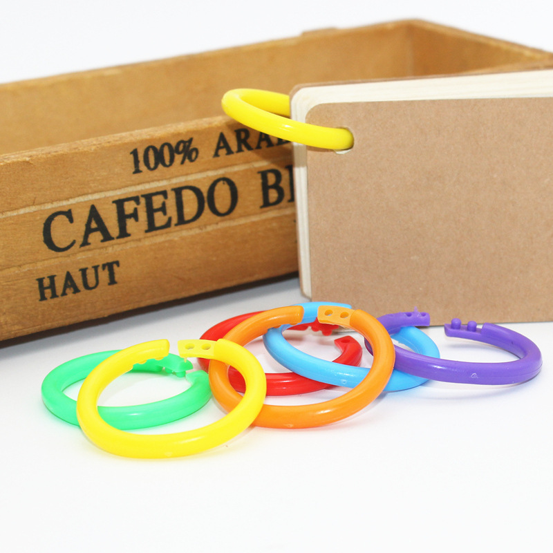10pcsEarly Education Book Binding Ring Tearing Bad Card Ring Plastic Opening Ring Finishing Random Ring Binder Book Binding