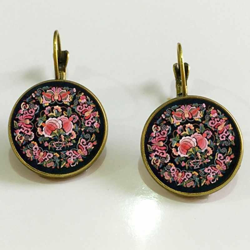 SUTEYI Шарм хна Йога амулет женские круглые серьги стеклянные кабошон серьги ювелирные изделия символ мандалы богемные женские серьги