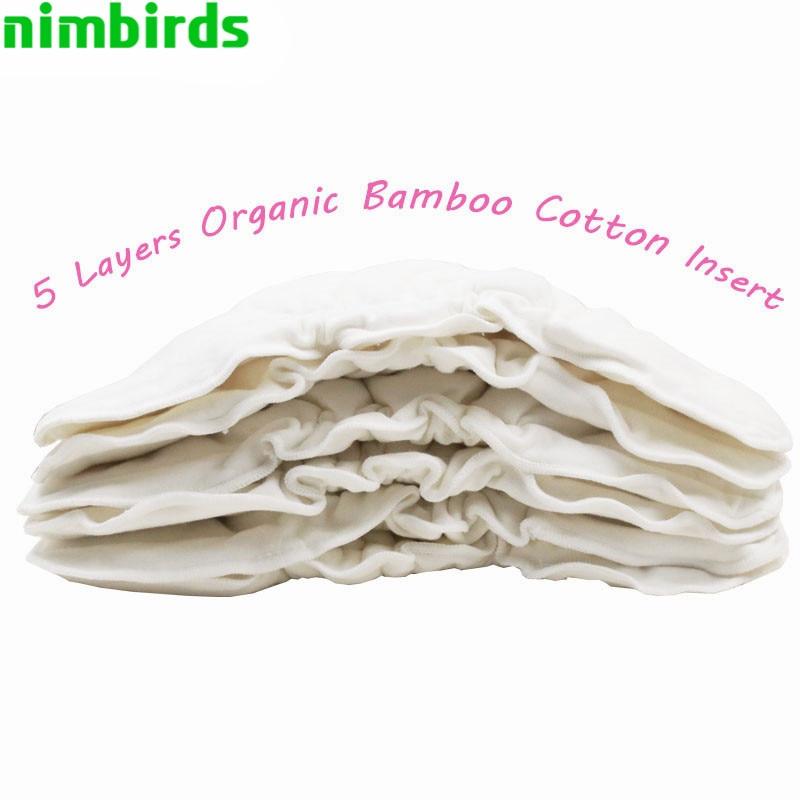 Επαναχρησιμοποιήσιμα μπαμπού Βαμβακερό ύφασμα Ενδύματα πάνα Πλένεται 5Layers Πάνες αλλαγής πάνας