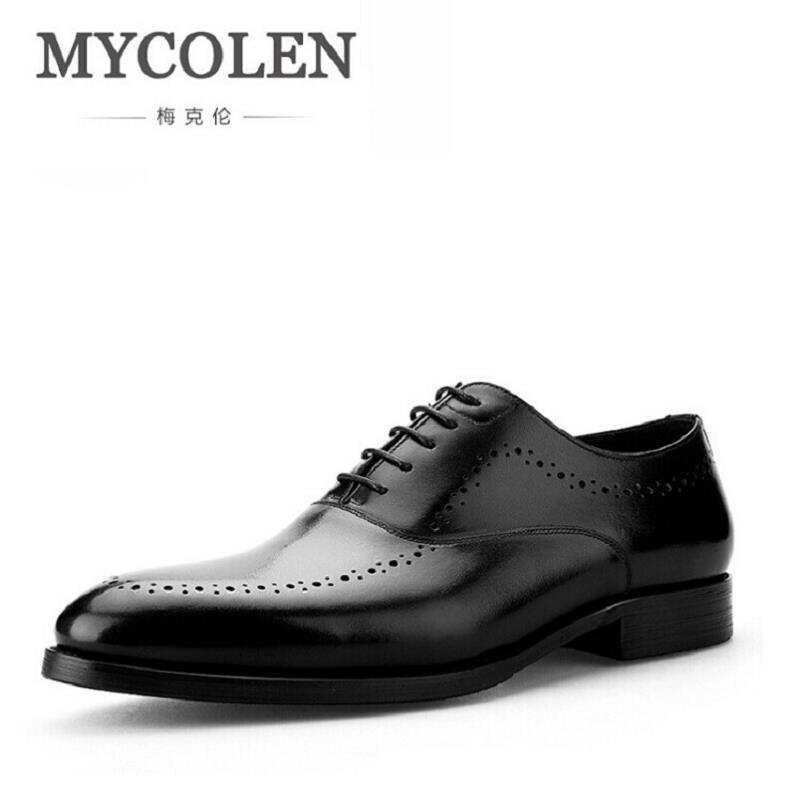MYCOLEN Bullock British Style Fashion Men Brogue Shoes Grain Leather Lace-Up Round Toe Men Oxfords Leather Shoes Men Footwear desai brand genuine leather shoes men oxfords shoes british style carved brown brogue shoes lace up bullock business men s flats