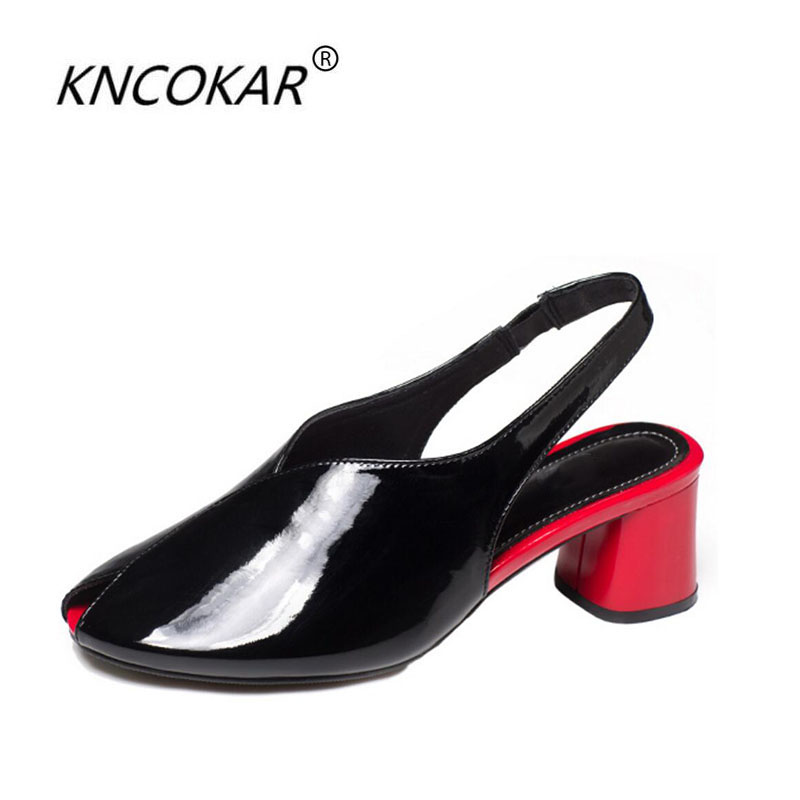 KNCOKAR2018Real leather and shoe fish-mouth sandals for the summer new European womens shoes cowhide cowhide comfortable heel sKNCOKAR2018Real leather and shoe fish-mouth sandals for the summer new European womens shoes cowhide cowhide comfortable heel s