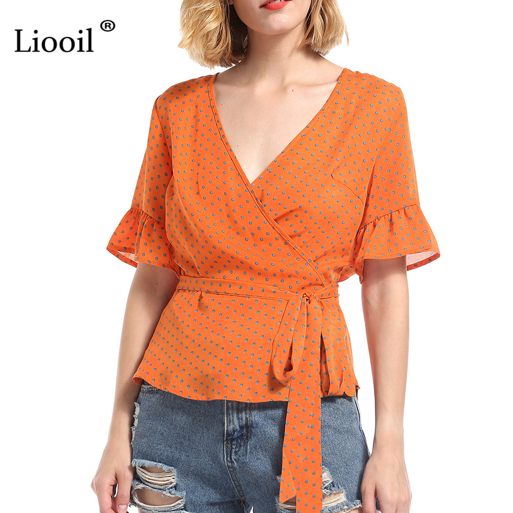 Liooil 2018 Summer Women Short Polka Dot T Shirts Ruffle Sleeve V Neck Sashes Chiffon Tops Orange Casual Beach Bohemian T Shirt