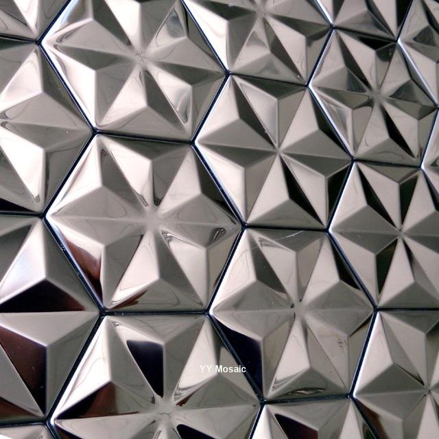 3d Konvexen Poliert Hexagon Silber Edelstahl Metall Mosaik Fliesen