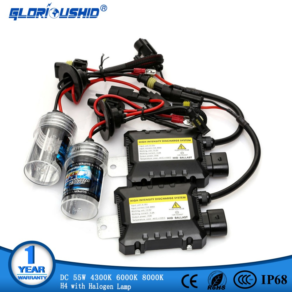 xenon H4 with halogen lamp kit H4-2 HID Xenon Conversion Kit wire Ballast Car HEADLIGHT 4300K 6000k 8000K, kit xenon h4-2 55w g500 55w xenon hid kit xenon h4 1 4300k 6000k slim ballast hid xenon kit 55w headlight bulbs kit xenon h4 55w