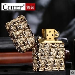 Image 2 - Luxury Thousand Buddhas Lighter Men Gadgets Kerosene Oil 3D Petrol Lighter Gasoline Cigarette Accessories Retro Relief Lighter
